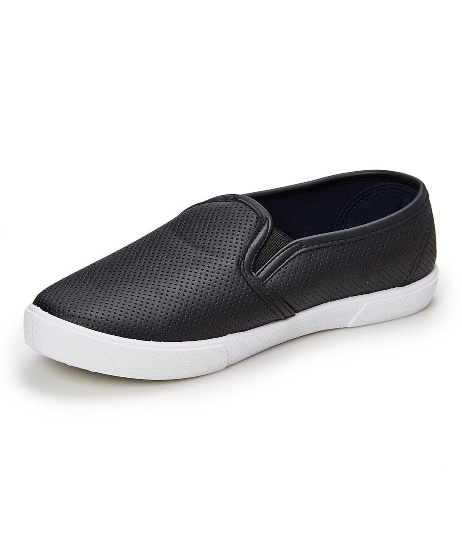 Lot 11 - Aéropostale Black Perforated Slip-On Sneaker (Uk Size:4.5/Us Size:7) (New Without Box) [Ref: