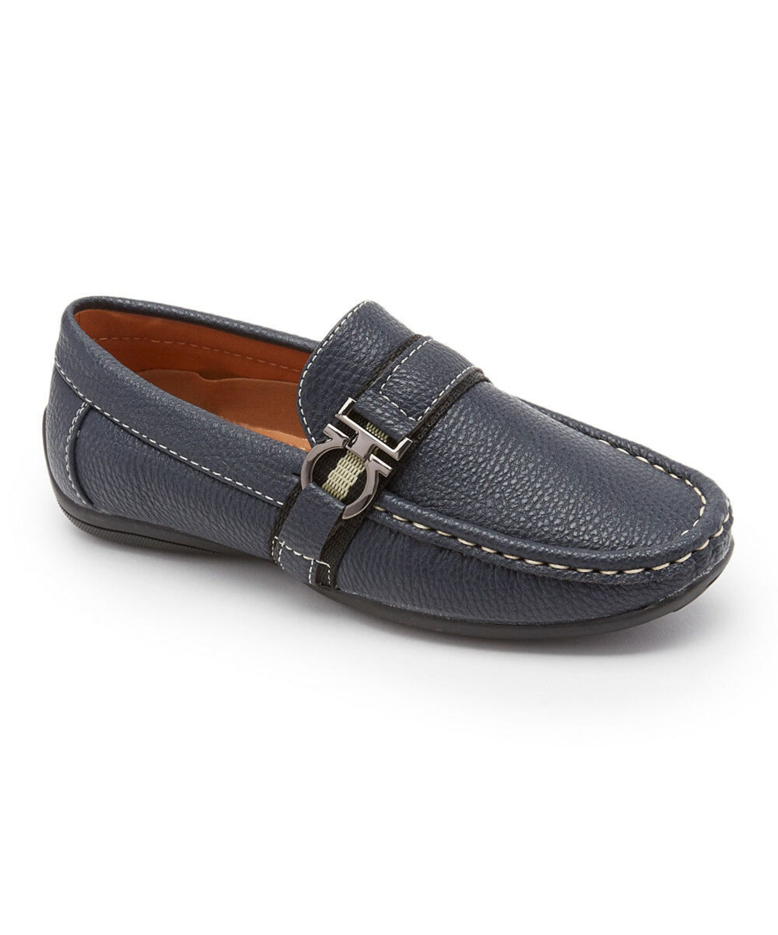 Lot 34 - Axny Navy Side-Buckle Loafer (Uk Size:3/Us Size:4) (New With Box) [Ref: 36688399-M-002]