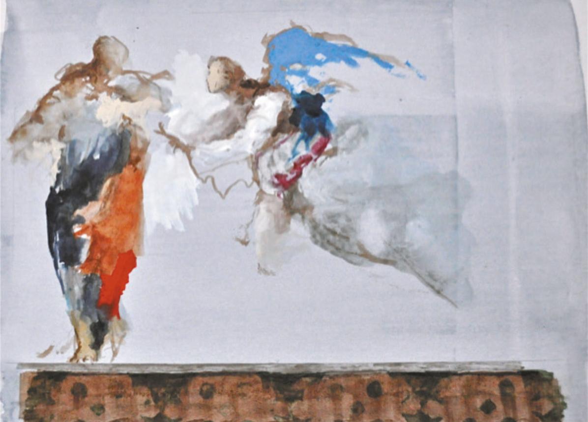 Lot 11 - Conte Paul (1947) Rencontre imprévue avec un ange 21 x 28,5 cm - Gouache, pastel, [...]