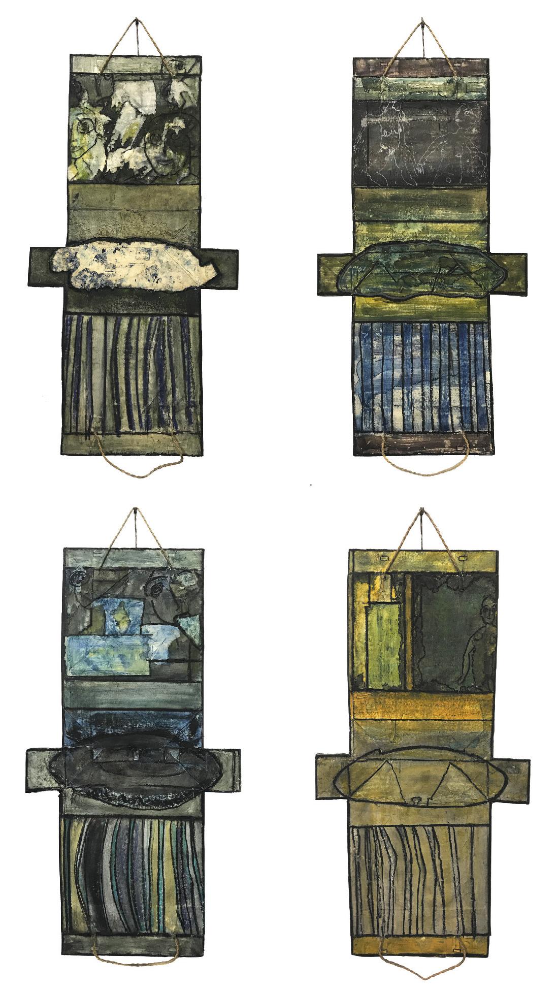 Lot 99 - Laurent Jean-Jacques (1943) Sacs à rêves - PVC acrylic - 130 x 60 cm - 1 600€ each -