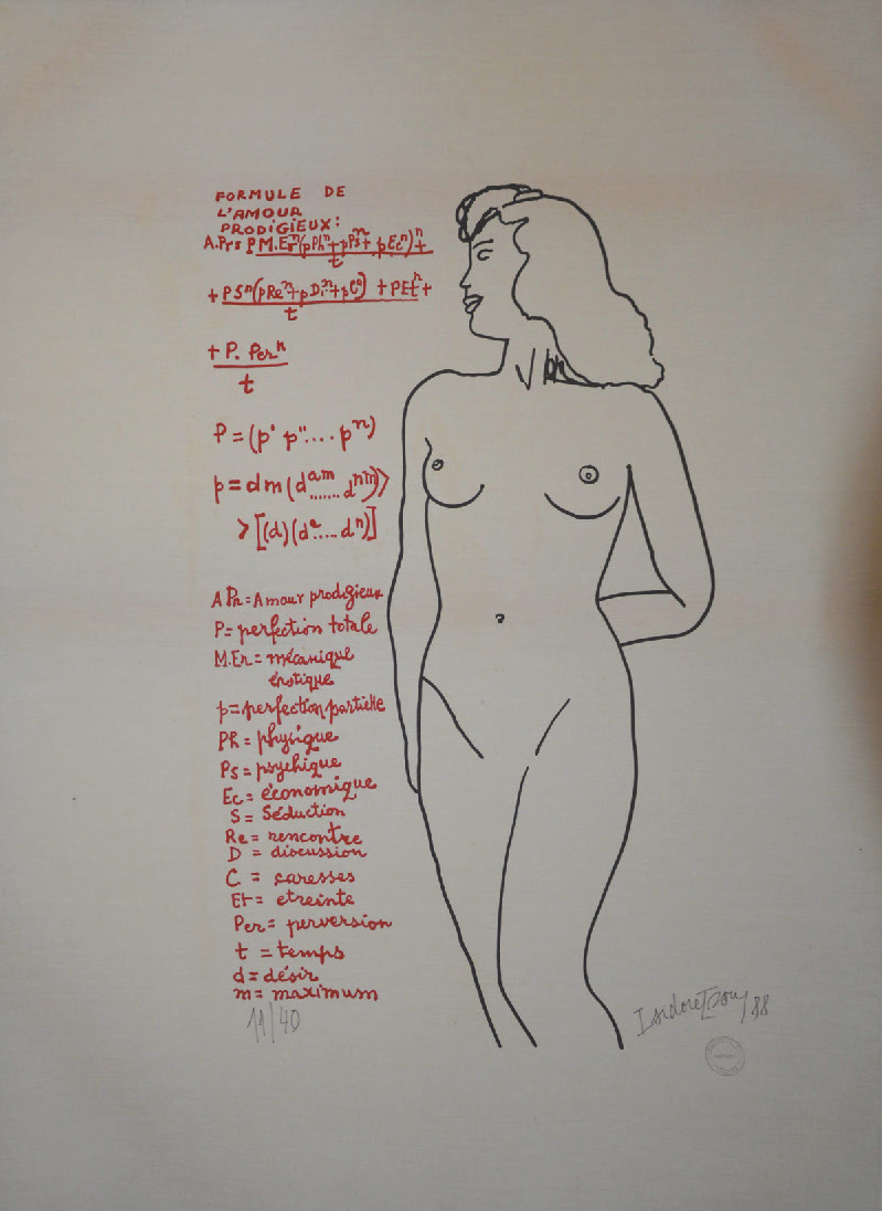 Lot 97 - Isou Isidore (1925-2007) L'amour prodigieux, 1988 Serigraph on canvas - n°11/40 - [...]