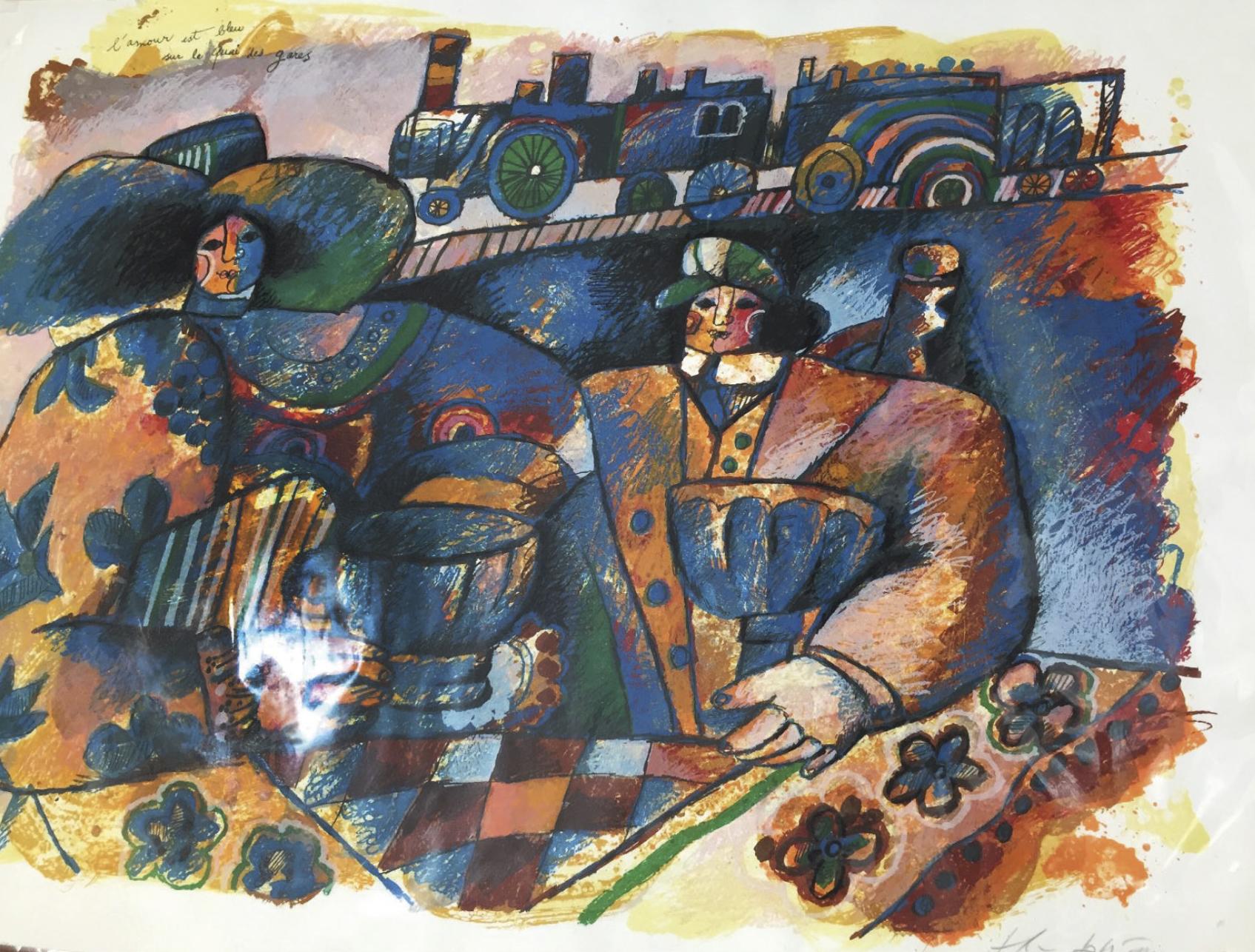 Lot 61 - Tobiasse Theo (1927-2012) L'amour est bleu sur les quai des gares, Lithograph [...]