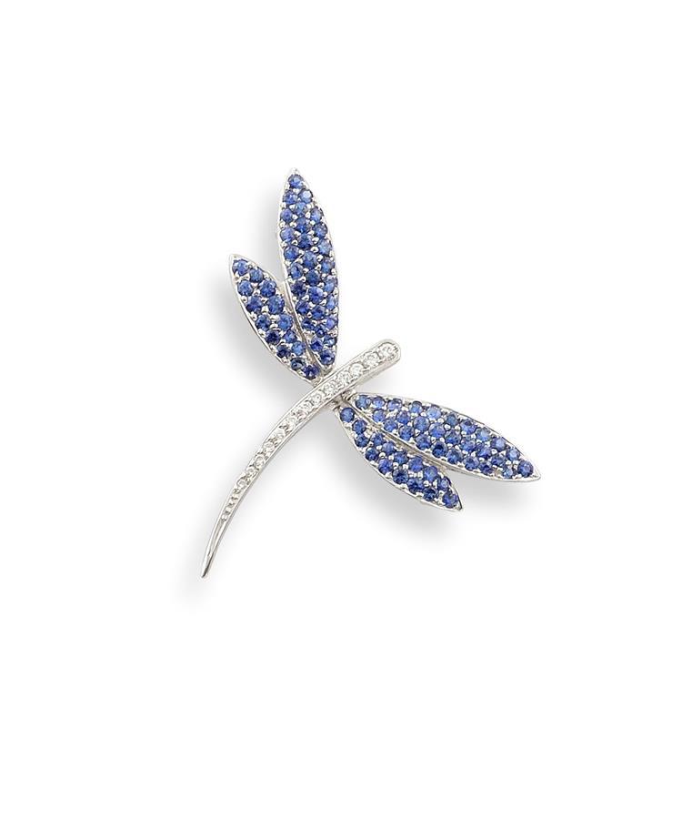Lot 13 - Broche formant pendentif à motif de libellule en or gris 18K (750°/00) les ailes [...]