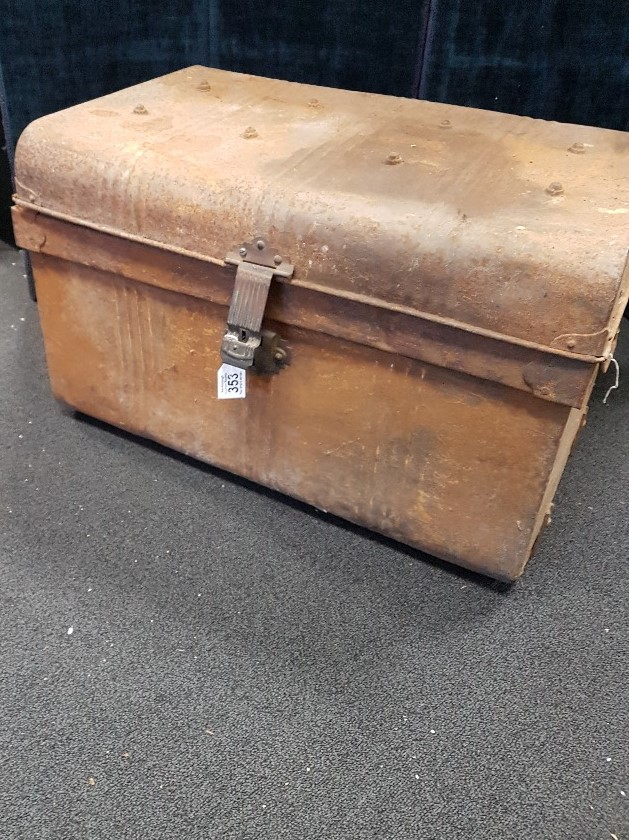 Lot 353 - A large early 20th Century metal trunk.