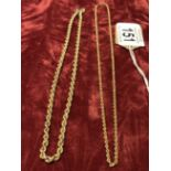 Lot 150 - Two 9ct gold rope necklaces.