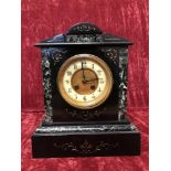 Lot 356 - A marble eight day mantel clock.