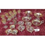 Lot 409 - A collection of vintage glassware with gold gilt decoration.