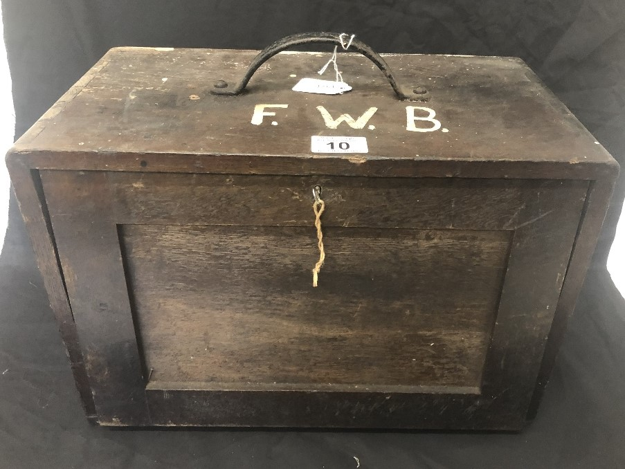 Lot 10 - A wooden engineer's tool box complete with key.
