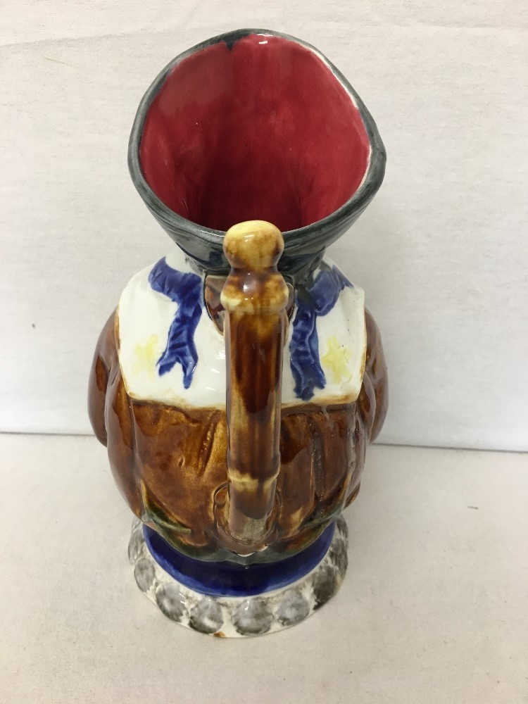 Lot 21 - A French majolica Nimy character jug of a sailor C 1850.