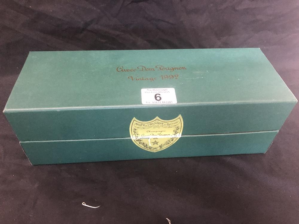 Lot 6 - A botttle of Don Perignon Cuvee 1992 champagne in presentation box.