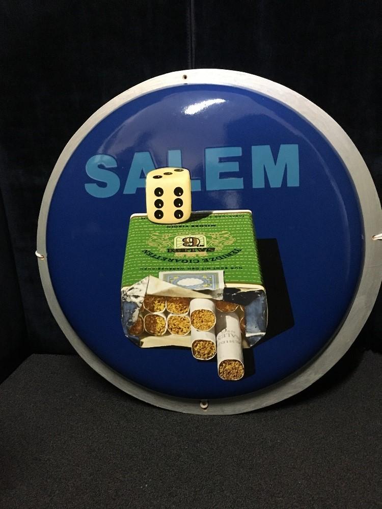 Lot 8 - A circular enamelled sign for Salem Cigarettes.