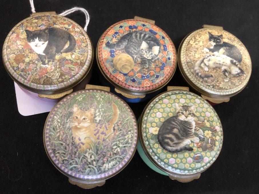 "Lot 35 - A set of five Crummles enamel trinket pots depicting ""A Calendar of Kittens""."