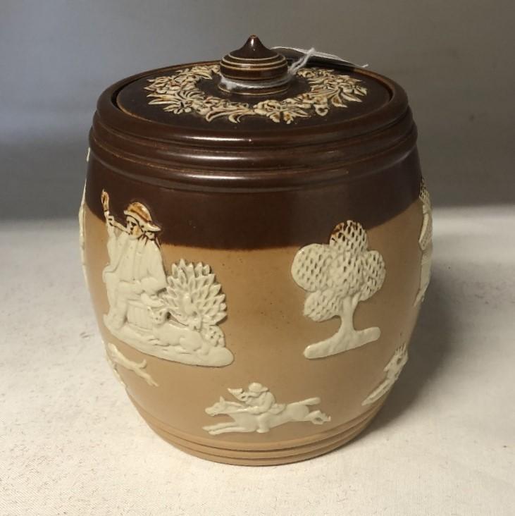 Lot 37 - A Royal Doulton stoneware tobacco jar.