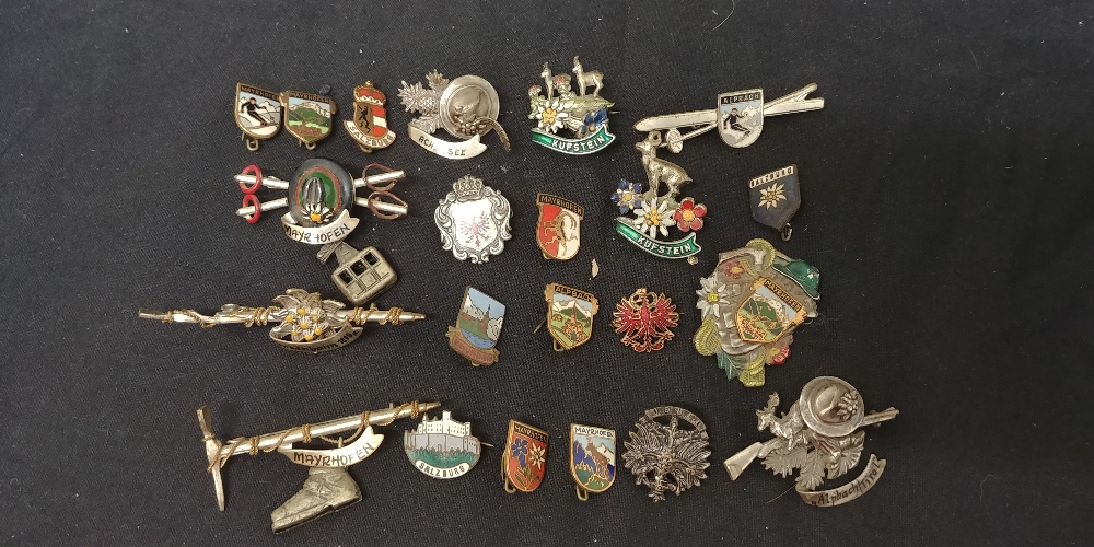 Lot 25 - A collection of pin badges from the Germany and Austrian area. Including some enamelled.