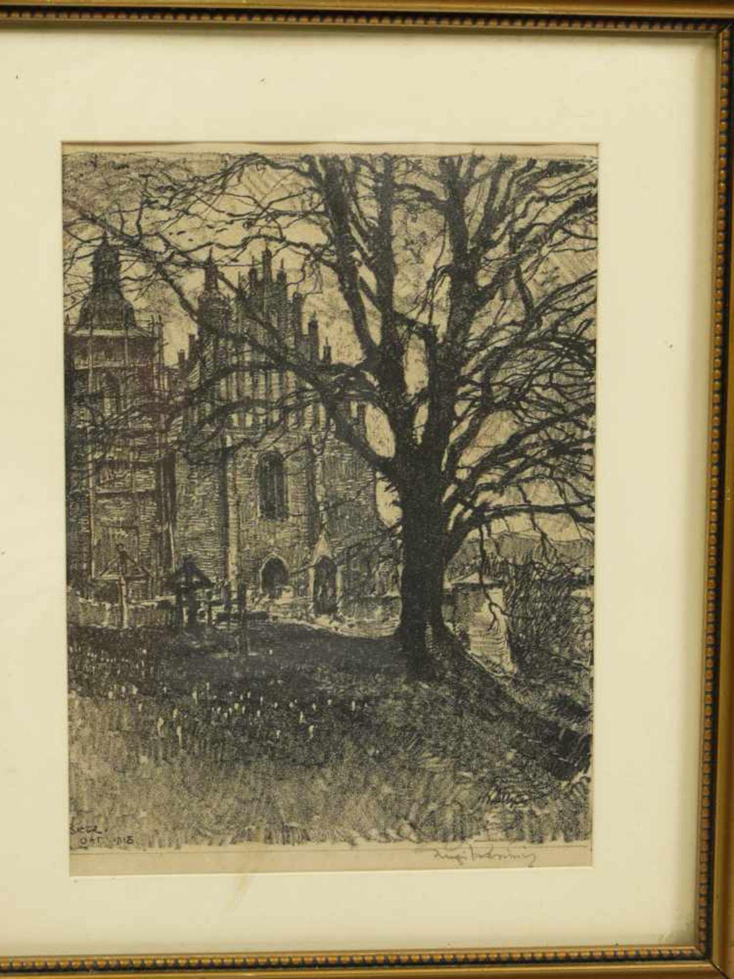 Los 1 - Kasimir, Luigi (1881-1962) - Zeichnung Biecz 1915Blick über einen Friedhof auf die Fassade einer