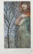 Fuchs, Ernst (1930-2015) - Das Negligee Farblithographie 85/250Hochformatige Darstellung einer