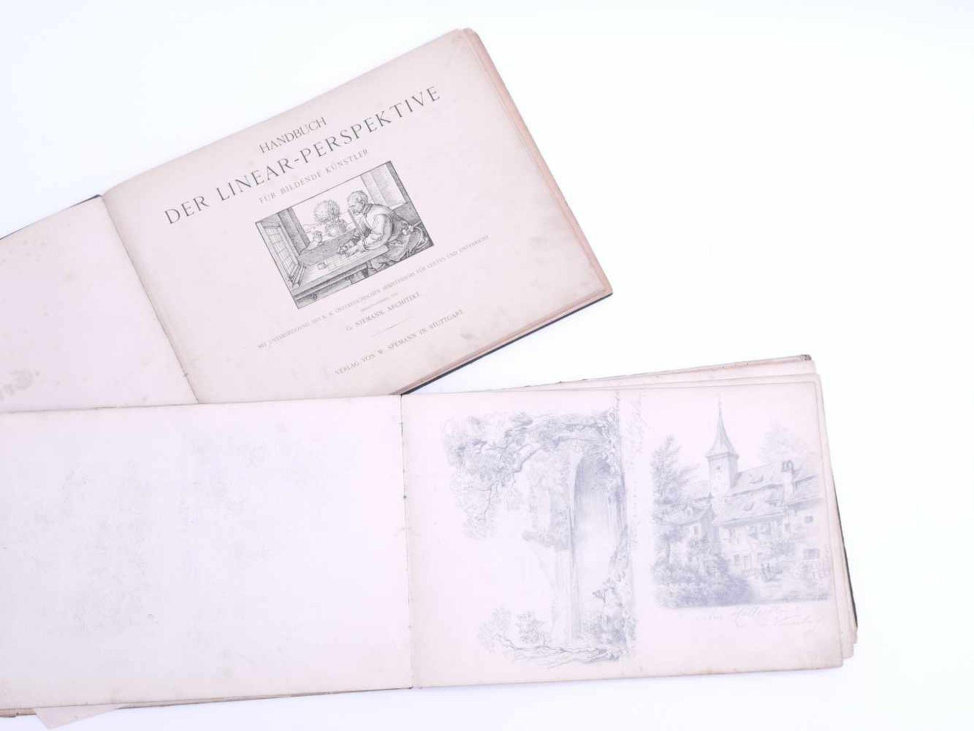 Los 9 - Skizzen- und Aquarellbuch mit Ausgabe von Niemanns Handbuch der Linear-Perspektive um