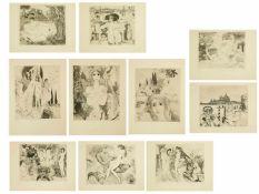 Weidenhaus, Elfriede (1931) - Sammlung von 10 RadierungenZehn wunderbare, im surrealistischen Stil