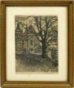 Kasimir, Luigi (1881-1962) - Zeichnung Biecz 1915Blick über einen Friedhof auf die Fassade einer