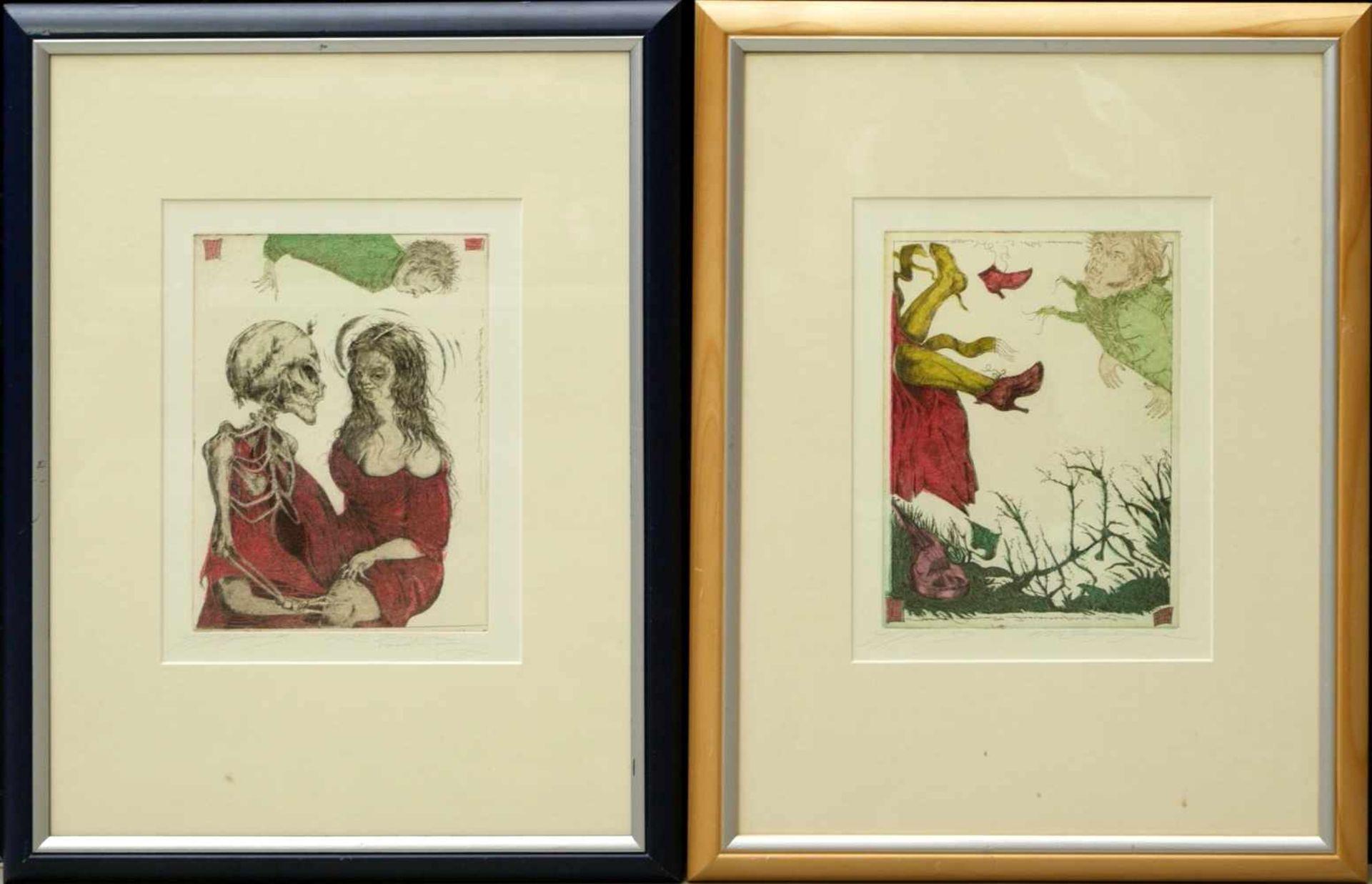Klenner- Otto, Stephan - Paar Farbradierungen aus E.T.A. Hoffmann Rath Krespel 2004Teil der