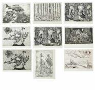 Rauh, Caspar Walter (1912-1983) - 9 Blätter RadierungenNeun lose Blätter mit Radierungen des