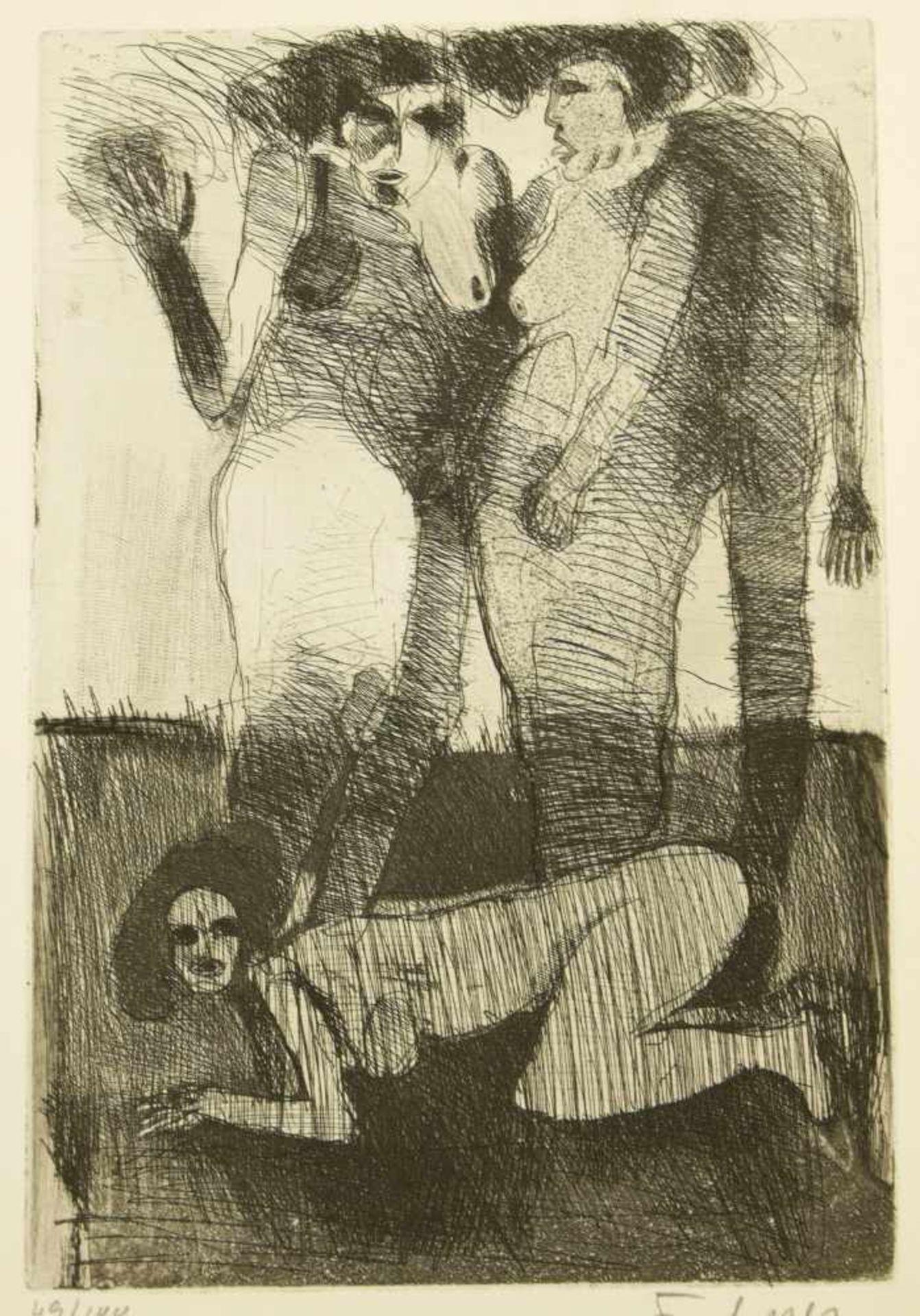Los 42 - Frohner, Adolf (1934-2007) - Radierung Frauenakte 49/100Ausdrucksstarke Darstellung dreier