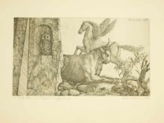 Proksch, Peter (1935-2012) - Radierung Eule, Stier und Pegasus 6/10 1. Zustand 1969Sonderedition des