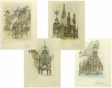 Coudenhove-Kalergi, Michael (1937) - 4 Farbradierungen Wiener Motive E.A. X/XXVIn typischer Manier