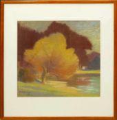 Brauer, Ferdinand (1867-1941) - Aquarell/ Kreide Herbstliches FlußuferWunderbare Ansicht in