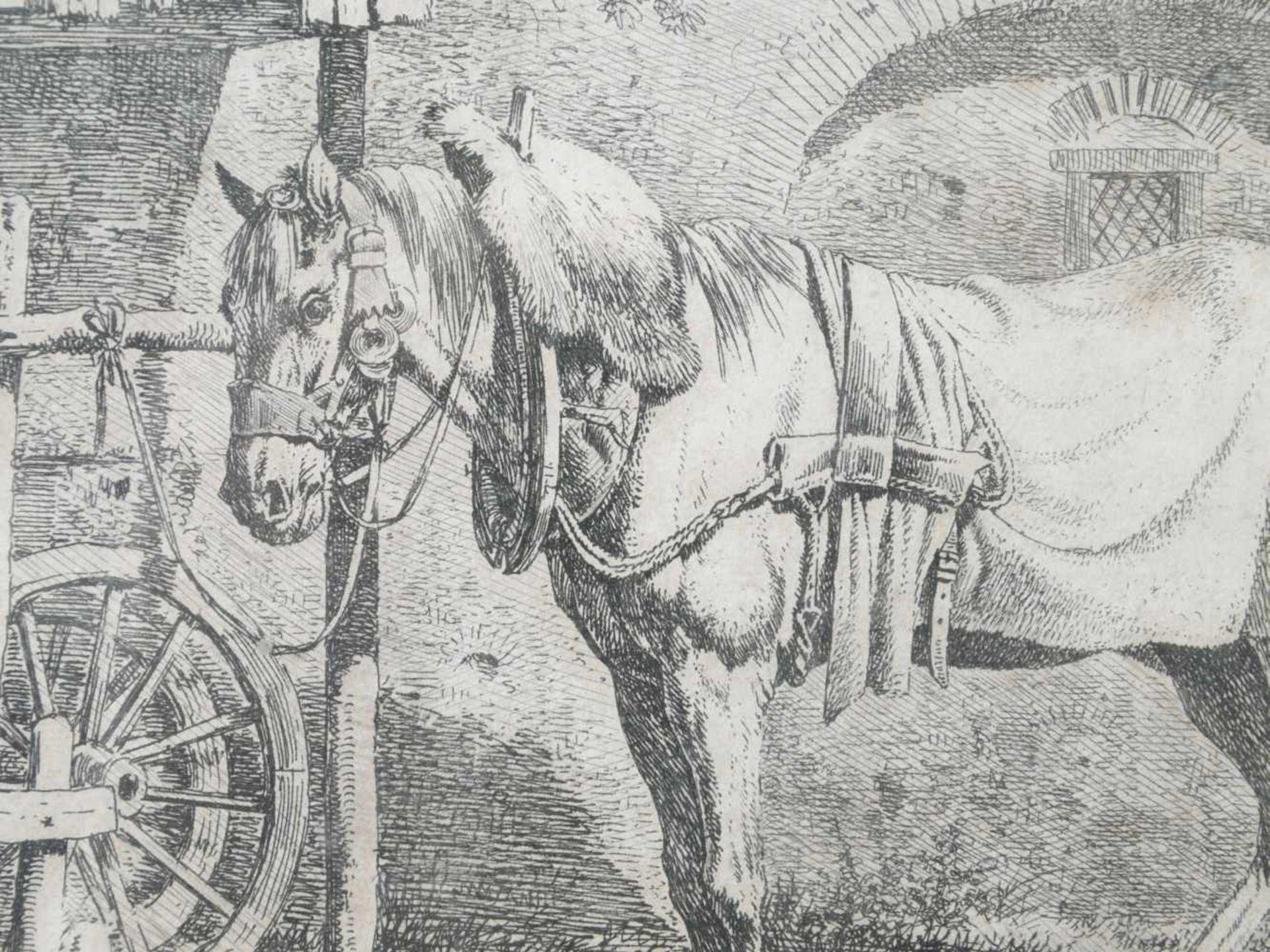Klein, Johann Adam (1792 Nürnberg - 1875 München) - Das Zugpferd am Schupfen Radierung - Bild 2 aus 3