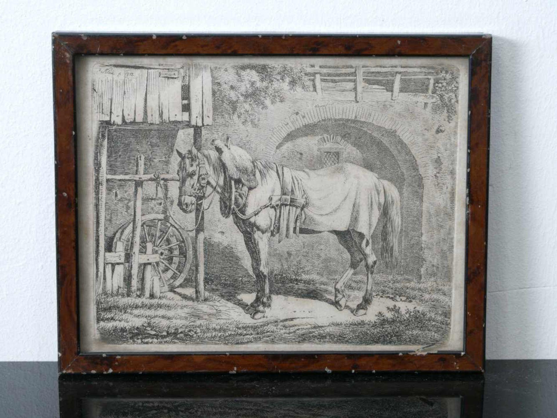Klein, Johann Adam (1792 Nürnberg - 1875 München) - Das Zugpferd am Schupfen Radierung