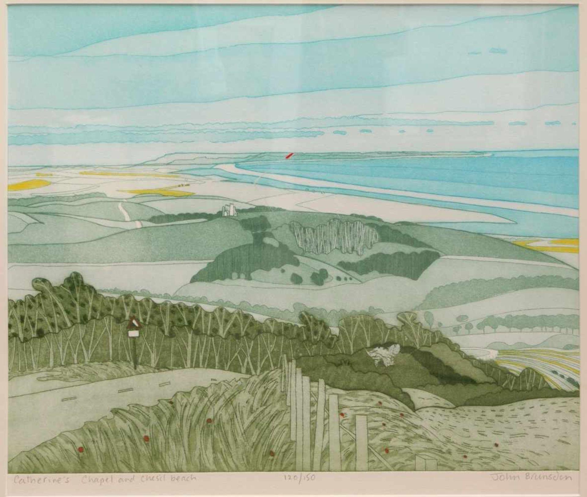 Los 28 - Brunsdon, John (1933-2014) - Catherine´s chapel and chesil beach Aquatinta 120/150Reduzierte