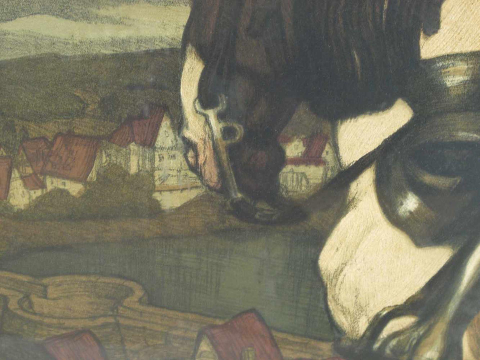 Los 10 - Prof. Jank, Angelo (1868-1940) - Die Eiserne Wehr 1902 FarbsteindruckInteressante Perspektive von