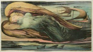 Fuchs, Ernst (1930-2015) - Engel über Wien Farbradierung 21/250Großformatige Darstellung eines