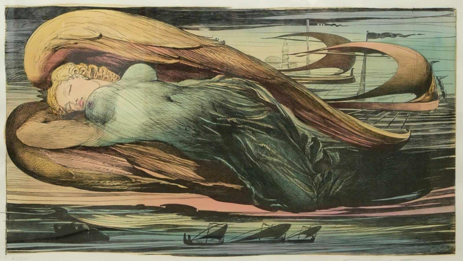 Los 27 - Fuchs, Ernst (1930-2015) - Engel über Wien Farbradierung 21/250Großformatige Darstellung eines