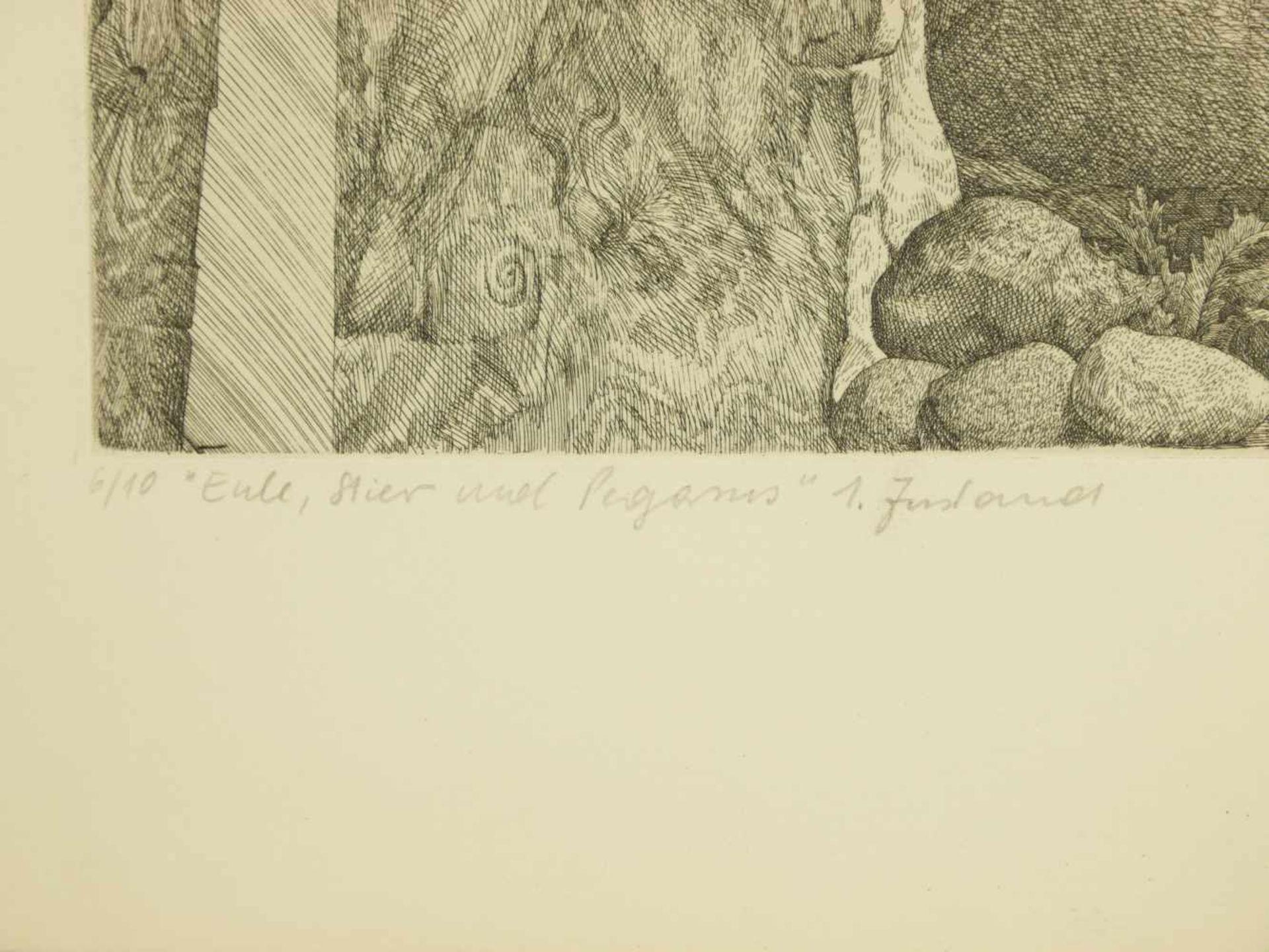 Los 43 - Proksch, Peter (1935-2012) - Radierung Eule, Stier und Pegasus 6/10 1. Zustand 1969Sonderedition des