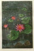 Nitschke-Illg, Hannel (1923) - Seerosen Farbaquatinta 51/75In kräftiger Farbpalette dargestellte