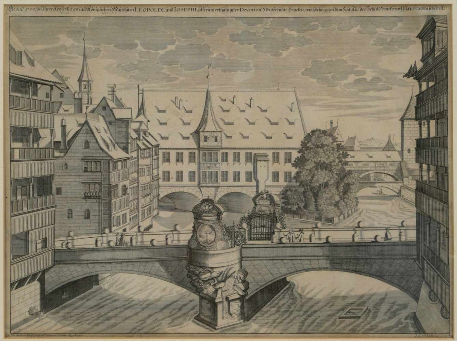 Los 19 - Graff, Johann Andras (1637-1701) - Die A. C. 1700 Neu Erbaute Brucken wie solche gegen dem Spital zu