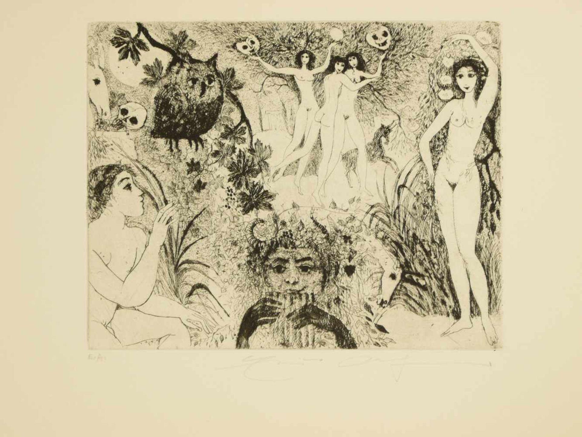 Los 45 - Weidenhaus, Elfriede (1931) - Sammlung von 10 RadierungenZehn wunderbare, im surrealistischen Stil