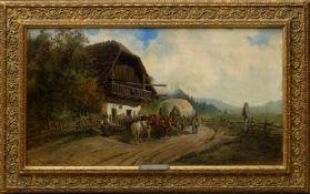 Ellminger, Ignaz (1843-1894) - Besuch beim HeurigenFlaches Querformat mit großer Tiefenwirkung.