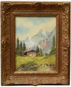 Hönigl, Peggy L. (1937) - BergbauernhofHochformatige Darstellung, am Fuße von steilen