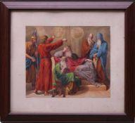 Nazarener - Joseph vor dem Pharao Aquarell/ Gouache 19. Jhd.Fein geschilderte Darstellung in