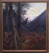 Dombrowski, Carl Ritter von (1872-1951) - Balzender AuerhahnAuf den kahlen Zweigen einer Lärche