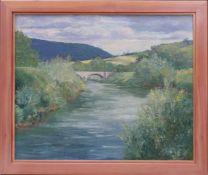 Gärtner-Tieffenthal, H. (20. Jhd.) - FlusslandschaftWeite Landschaft, im Vordergrund ein