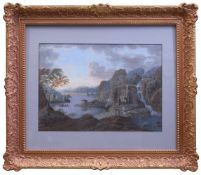 sig. Schubert - Romantische Landschaft 19. Jhd.Ideallandschaft an einer bewegten Meeresbucht mit