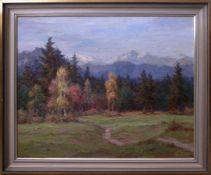 Böhme, Hans (1905-1982) - VoralpenlandschaftQuerformatige Ansicht eines Waldrandes vor der fernen