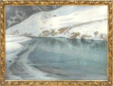 Hans Ritter von Petersen (1850-1914) - SchneeschmelzeIdyllische Winterlandschaft durch die ein