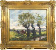 Baur, Albert (1867-1959) - Sonniger Tag an der Anger (Niederrhein)An einem mit vier großen Weiden