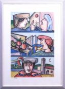 Carosso, Carlo (1953-2007) - IkonographieGroßformatiges Aquarell, horizontal in drei Bildfelder
