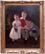 Karl Theodor von Piloty (1826-1886) - Portrait Familie Knauth in Leipzig 1849Großformatiges Portrait